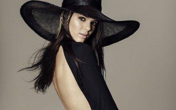 pose, brunette, model, back, hat, kendall jenner