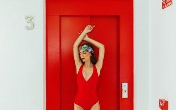 girl, pose, the door, model, hands, figure, swimsuit, closed eyes