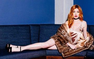 girl, pose, look, red, hair, face, actress, makeup, coat, katherine mcnamara