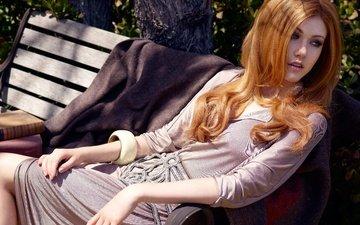 girl, pose, look, red, hair, bench, face, actress, katherine mcnamara