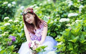 цветы, природа, девушка, улыбка, азиатка