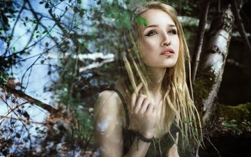 nature, girl, blonde, portrait, look, hair, face, piercing