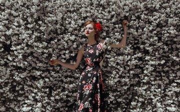 flowers, nature, flowering, girl, dress, spring, redhead, closed eyes