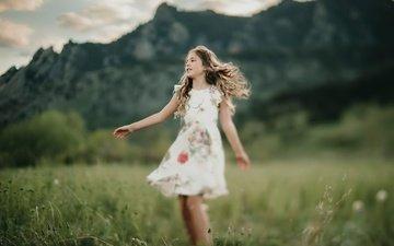 природа, платье, лето, взгляд, девочка, волосы, лицо