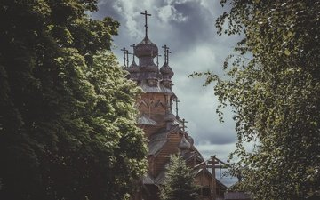 nature, landscape, church, the monastery, svyatogorsk