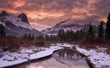 clouds, river, mountains, snow, sunset