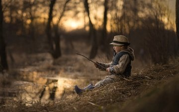 река, природа, закат, мальчик, шляпа, рыбалка, рыбак, iwona_podlasinska