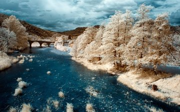 river, bridge, france, infrared the, saint-jean-du-gard