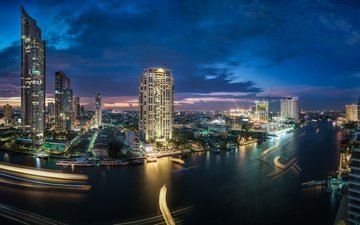 river, skyscrapers, night city, building, thailand, bangkok