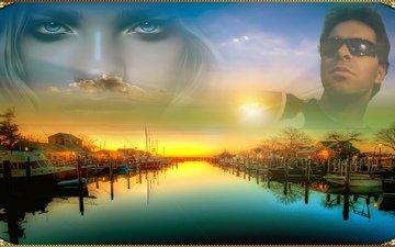 река, восход, природа, закат, лодки, мужчина, женщина, гараж