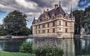the sky, clouds, trees, river, castle, france, encore azay