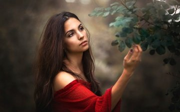 hand, girl, mood, background, branches, look, hair, face