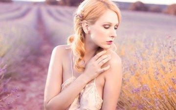 рука, девушка, настроение, поле, лаванда, макияж, nancy thomsom