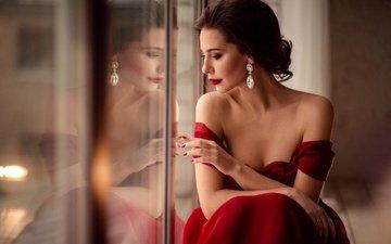 hand, style, look, shoulders, hair, makeup, hairstyle, decoration, red dress, brown hair, earrings