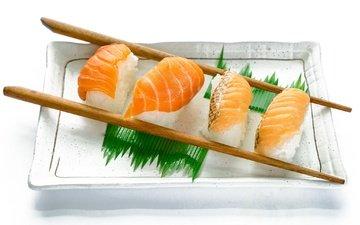 рыба, палочки, рис, суши, морепродукты, блюдо, сёмга
