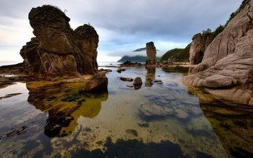 the sky, clouds, rocks, stones, sea, the sea of japan, lazovsky nature reserve