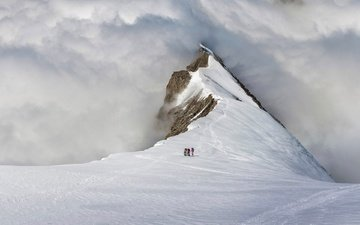 snow, mountain, switzerland, climbers