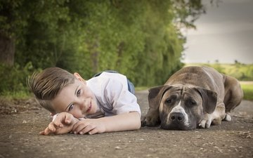 smile, dog, child, boy, friends