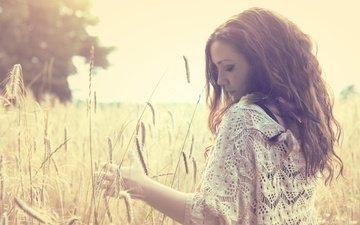 солнце, девушка, поле, лето, колосья