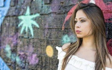 девушка, взгляд, стена, волосы, лицо, antonella