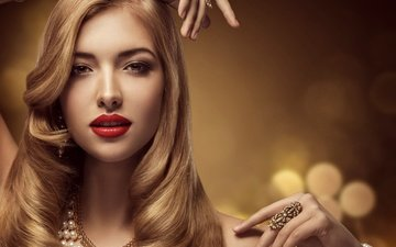 decoration, style, girl, blonde, look, hair, face, makeup, hairstyle, pearl, bracelets, necklace