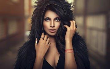 глаза, стиль, девушка, настроение, портрет, девушки, модель, лицо, кольца, макияж, гламур, фотосессия, черные волосы