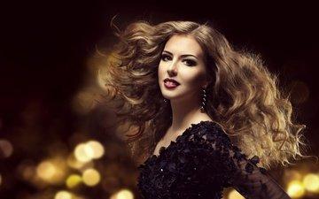 стиль, девушка, улыбка, взгляд, модель, кудри, волосы, лицо, макияж, прическа, сережки