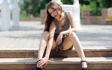 ступеньки, девушка, модель, ножки, туфли, позирует
