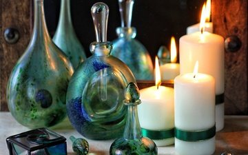 candles, glass, bottle, still life
