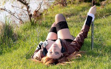 grass, girl, blonde, sword, stay, lying
