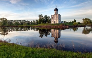 grass, water, nature, russia, church, the intercession on the nerl
