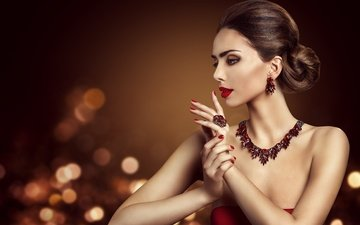 decoration, style, girl, look, profile, ring, hair, face, makeup, hairstyle, necklace, earrings