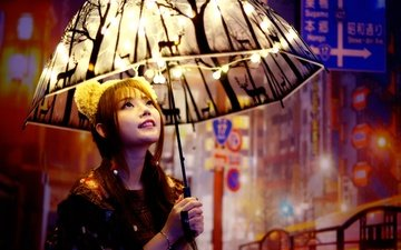 девушка, улыбка, ушки, лицо, лампочки, зонтик, азиатка, гирлянда