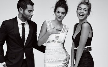 smile, guy, black and white, girls, model, kendall jenner, gigi hadid