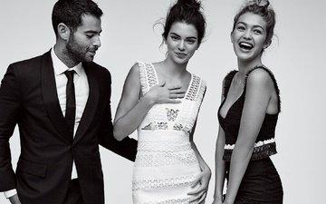 улыбка, парень, чёрно-белое, девушки, модели, кендалл дженнер, гиги хадид