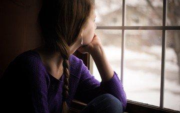 девушка, настроение, грусть, окно, коса
