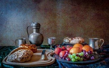 виноград, фрукты, апельсины, тень, выпечка, помидоры, помидор, натюрморт, булочки