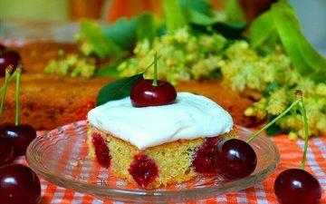 ягода, вишня, выпечка, десерт, пирог