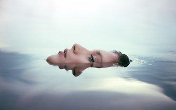 вода, девушка, настроение, отражение