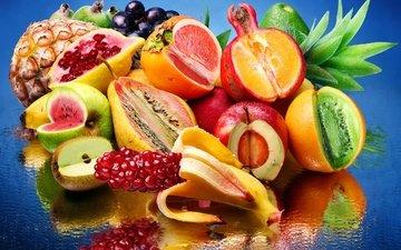 вода, отражение, виноград, фрукты, лимон, арбуз, апельсин, яблоко, киви, банан, ананас, груша, гранат, авокадо, хурма