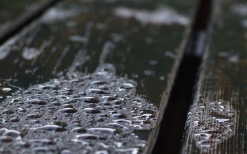 drops, water, rain, wooden surface