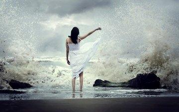 волны, девушка, настроение, море, платье, брызги, jonathan emmanuel flores tarello