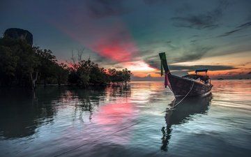 the sky, clouds, trees, sunset, sea, boat