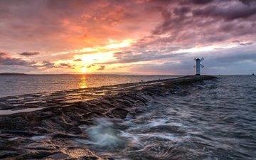 небо, вода, берег, закат, море, маяк, sascha gebhardt