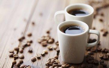 зерна, кофе, кружки, кофейные зерна, деревянная поверхность
