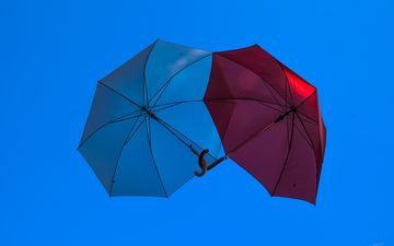 umbrella, blue, red, sky, clear sky, love, screen