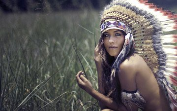 grass, nature, field, brunette, model, face, feathers, long hair, headdress, bare shoulders, squaw