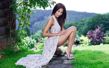 grass, girl, dress, brunette, model, legs, michaela isizzu, michaela madarova, mila k, playboy, kalena a
