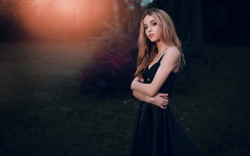 nature, girl, blonde, portrait, look, model, black dress, ivan gorokhov
