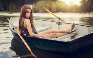 lake, girl, look, boat, model, feet, long hair, sitting